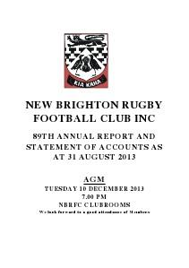 New Brighton Rugby Club Annual Report 2013 (Volume 1)