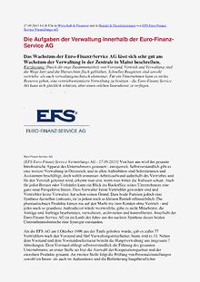 Die Aufgaben der Verwaltung innerhalb der Euro-Finanz-Service AG 2