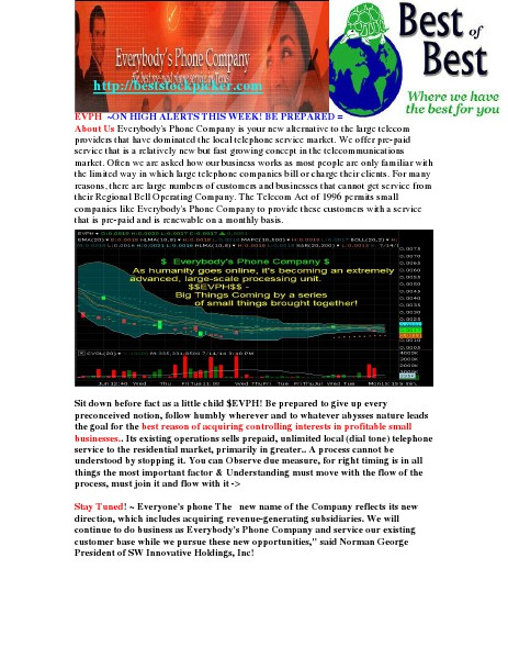 $EVPH$ Plan Set to explode Everybody's Phone Company! July 16,2014 JULY 16,2014